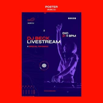 Dj set livestream poster vorlage