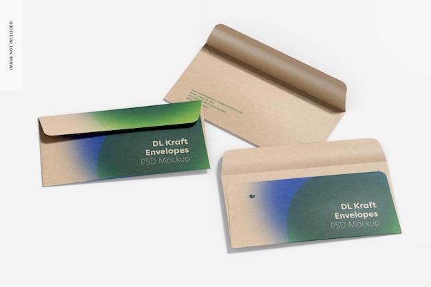 Dl kraft envelopes set mockup