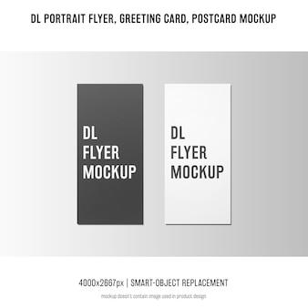 Dl-portrait-flyer, postkarte, grußkartenmodell