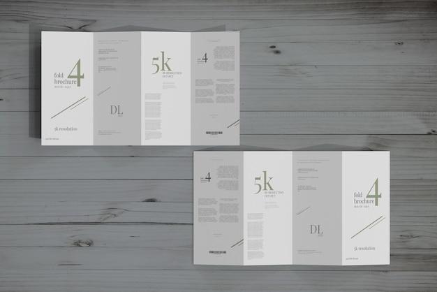 Dl size four fold brochure mockup
