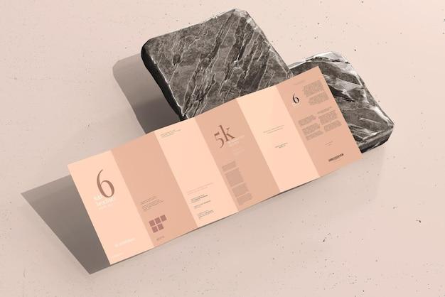 Dl size six fold brochure mockup