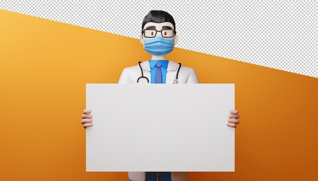 Doktor, der maske mit 3d-rendering des leeren bildschirms trägt