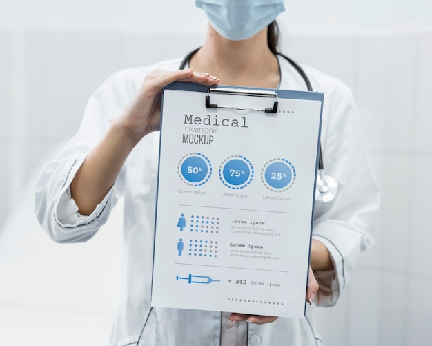 Doktor mit gesichtsmaske, die klemmbrettmodell hält