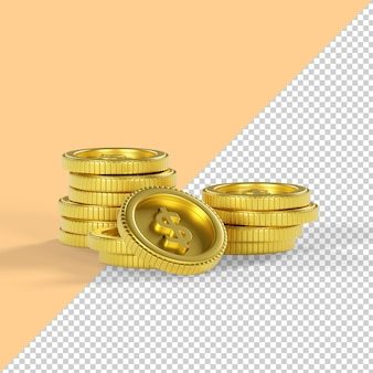 Dollarmünze isoliert 3d-rendering