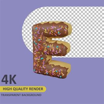 Donuts buchstabe e cartoon rendering 3d-modellierung