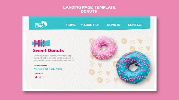 Donuts store template landing page