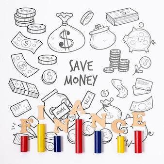 Doodle finanziellen hintergrund und balkendiagramm