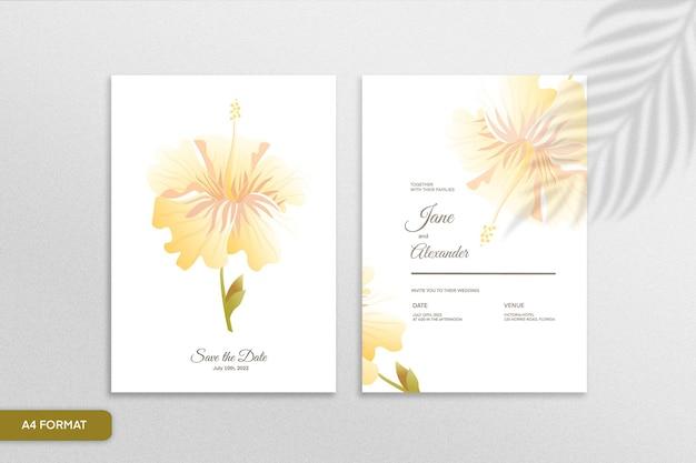 Doppelseitige minimalistische blumenhochzeitseinladung mit gelber blume auf weißem hintergrund