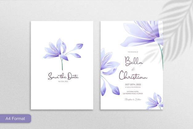 Doppelseitige minimalistische blumenhochzeitseinladung mit lila blume auf weißem hintergrund