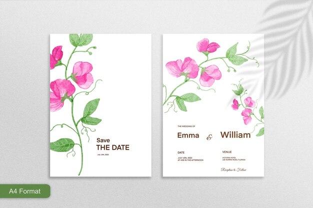 Doppelseitige minimalistische blumenhochzeitseinladung mit rosa blume auf weißem hintergrund