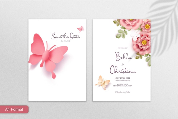 Doppelseitige papier-stil-blumen-hochzeits-einladung auf rosa hintergrund
