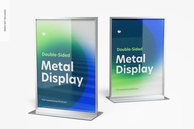 Doppelseitiger poster-metall-desktop zeigt mockup an