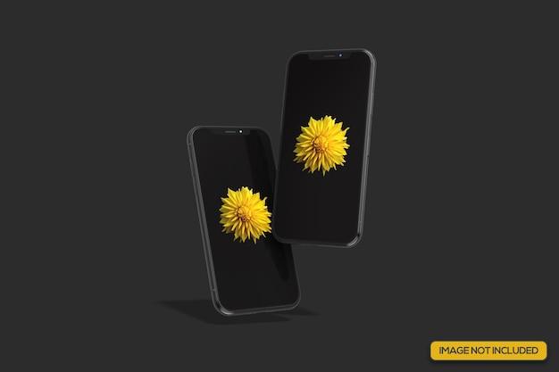 Doppelt schwebendes realistisches smartphone-modell