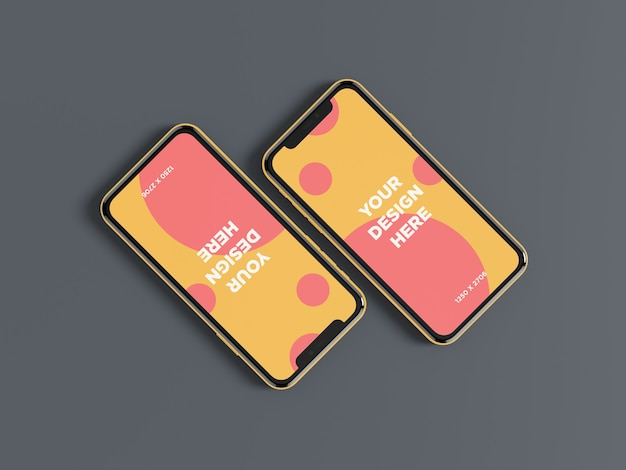 Doppelte smartphone-diagonaldraufsicht