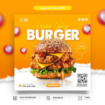 Double cheese chicken burger promotion social media template