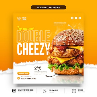 Double cheezy burger promotion social media vorlage