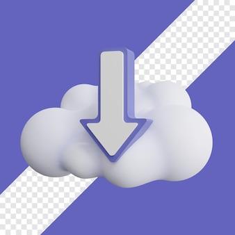 Download-symbol mit cloud-3d-darstellung