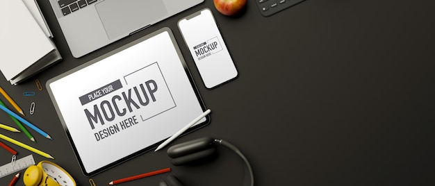 Draufsicht 3d-rendering, kreativer arbeitsbereich mit laptop-briefpapier für tablet-smartphones und kopierraum