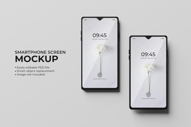 Draufsicht 3d smartphone-bildschirmmodell