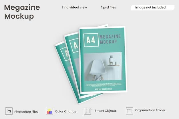 Draufsicht auf broschüren- und katalogmodelle premium psd