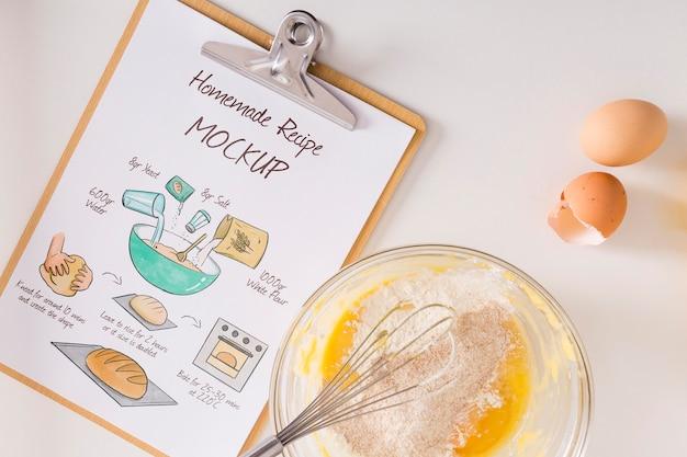 Draufsicht auf das konzept des kochens zu hause konzept