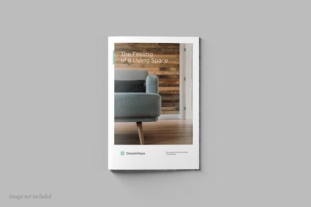 Draufsicht auf das modell der broschüre oder des katalogdeckels