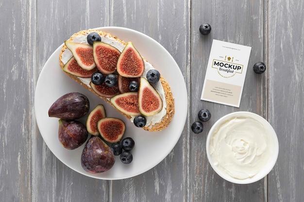 Draufsicht auf gesundes frühstücksmodelldesign