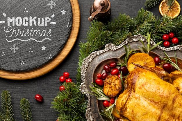 Draufsicht auf köstliches weihnachtsessenmodell