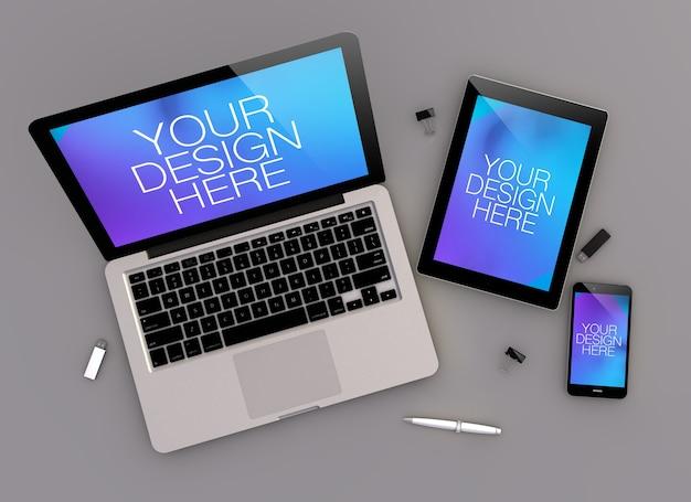 Draufsicht auf reaktionsfähige geräte mit grauem desktop