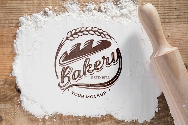 Draufsicht bäckereiblume mit modell