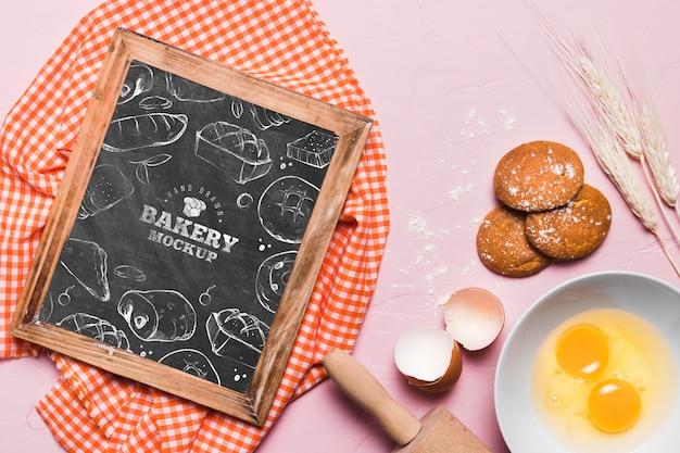 Draufsicht bäckereikonzept mit modell