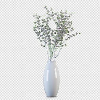 Draufsicht blüht in vase 3d rendering isoliert