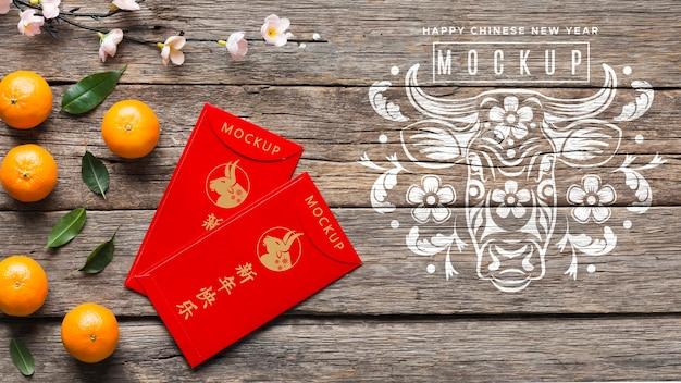 Draufsicht chinesisches neujahrsmodell 2021