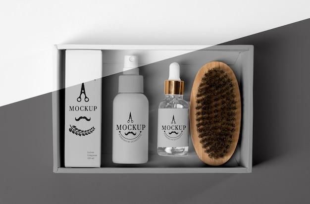 Draufsicht der barbershop-produktbox mit serum