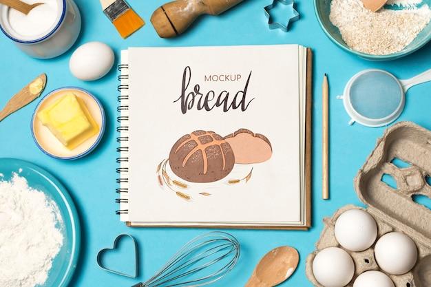 Draufsicht des bäckereikonzeptmodells