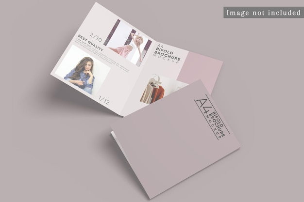Draufsicht des bifold-broschürenmodells Premium PSD