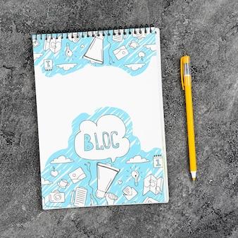 Draufsicht des blognotizbuches