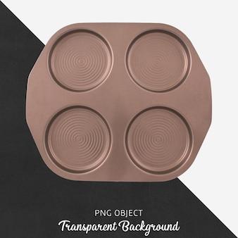Draufsicht des bronze- oder braunen pfannkuchenbehälters