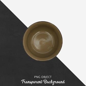 Draufsicht des brown-suppentellers über transparenten hintergrund