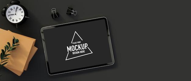 Draufsicht des digitalen tablets mit mockup-bildschirm