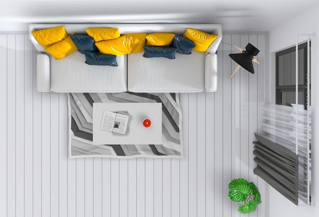 Draufsicht des innenwohnzimmers. 3d übertragen