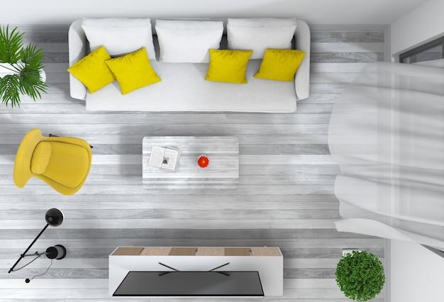 Draufsicht des innenwohnzimmers mit intelligentem fernsehapparat.