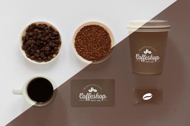 Draufsicht des kaffeekonzeptmodell