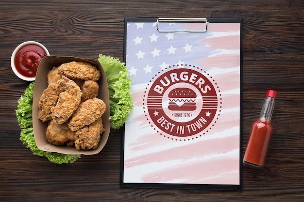 Draufsicht des köstlichen amerikanischen nahrungsmittelmodells