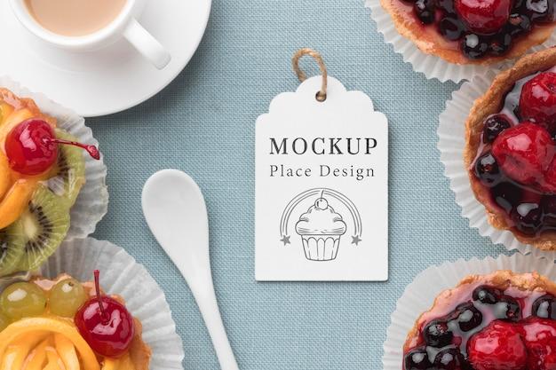Draufsicht des köstlichen bäckereikonzept-modells