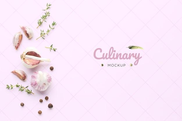 Draufsicht des kulinarischen knoblauchmodells