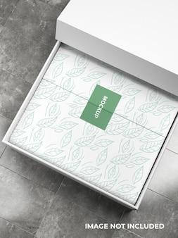 Draufsicht des lebensmittelbox-mockup-designs