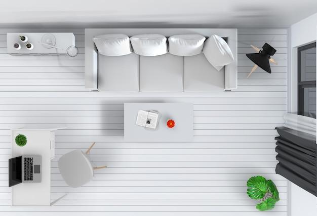 Draufsicht des modernen innenwohnzimmers