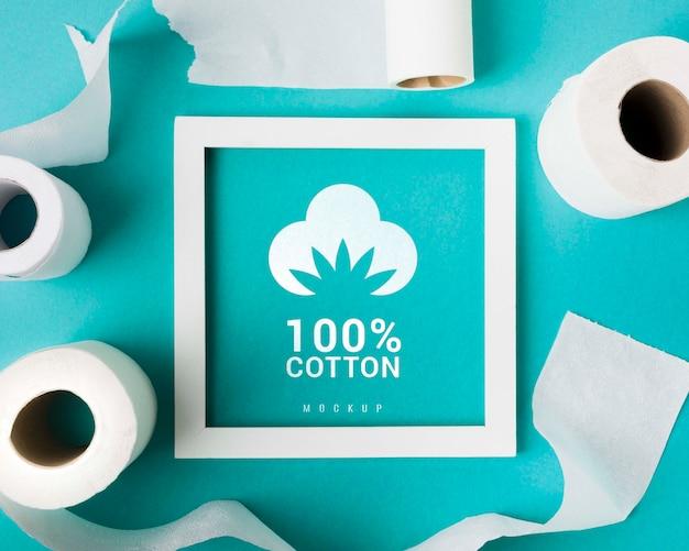 Draufsicht des rahmens mit toilettenpapierrollen