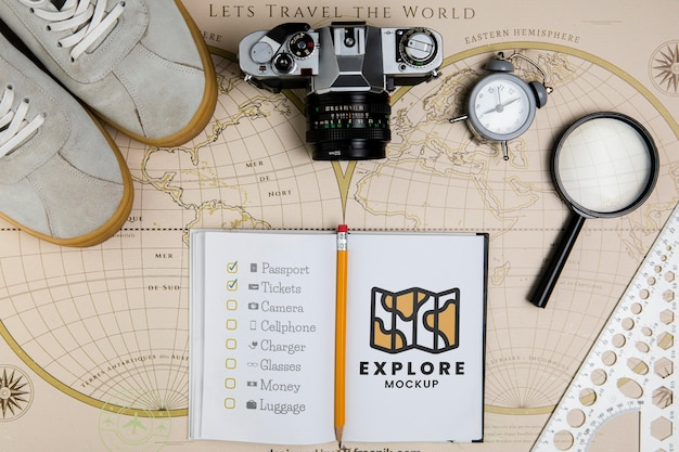 Draufsicht des reisekonzeptmodells